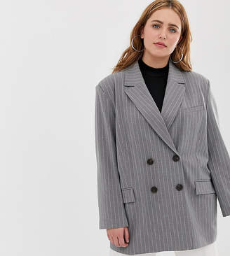 Asos DESIGN Curve dad suit blazer in gray pinstripe
