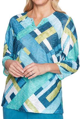 Alfred Dunner Victoria Falls 3/4 Sleeve Split Crew Neck Pattern T-Shirt-Womens