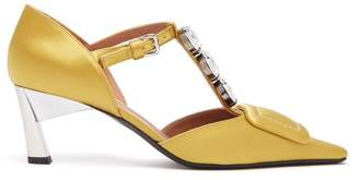 Marni - Crystal Embellished Satin Kitten Heel Pumps - Womens - Dark Yellow
