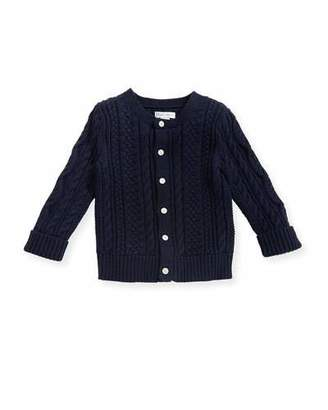 Ralph Lauren Childrenswear Soft Pearl Cotton Cable-Knit Cardigan, Navy, 6-24 Months