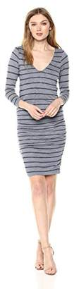 Velvet by Graham & Spencer Women's Briya Stripe Textured 3/4 Sleeve Dress