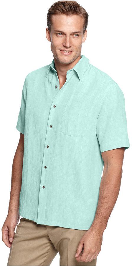 Tasso Elba Big and Tall Shirt, Silk and Linen Blend Shirt