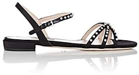 Miu Miu Women's Crystal-Embellished Satin Sandals-Nero