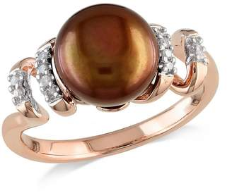 Concerto 9-9.5mm Brown Button Freshwater Pearl and Pink-Plated Sterling Silver Swirl Ring with 0.05 CT. T.W. Diamonds
