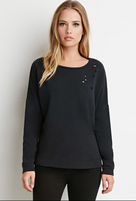FOREVER 21+ Dolman-Sleeve Distressed Sweatshirt $19.90 thestylecure.com