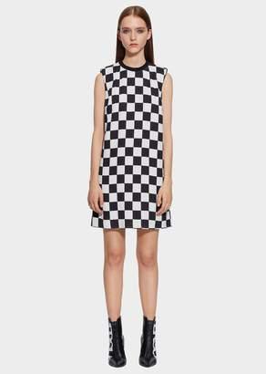 Versace Checkerboard Print Mini Shift Dress