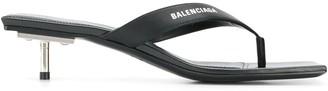 Balenciaga metallic heel sandals
