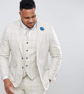 Gianni Feraud PLUS Skinny Fit Wedding Windowpane Check Suit Jacket