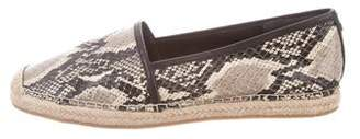 Brian Atwood Snakeskin Round-Toe Espadrilles