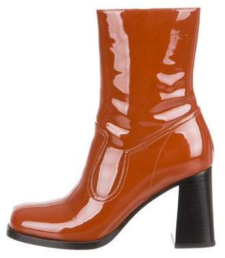 Marc Jacobs Patent Leather Square-Toe Ankle Boots