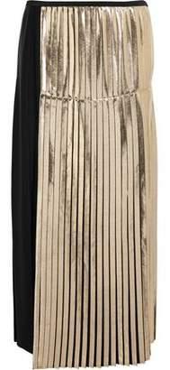 Stella McCartney Carmen Metallic-Paneled Pleated Crepe Maxi Skirt