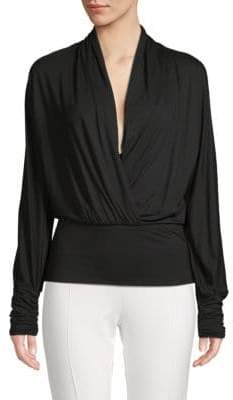Max Mara Long-Sleeve Surplice-Neck Top
