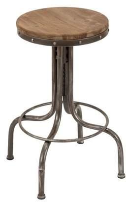 "DecMode 17"" x 28"" Round Industrial Natural Wood & Silver Adjustable Metal Bar Stool"