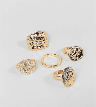 Monki multi pack rings in gold
