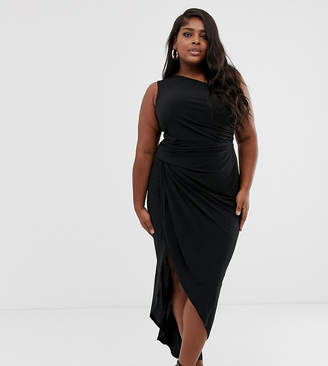 364fad1788 John Zack Plus one shoulder asymmetric midi dress with thigh split in black