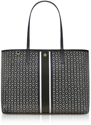 Tory Burch Black Gemini Link Stripe Canvas Tote Bag