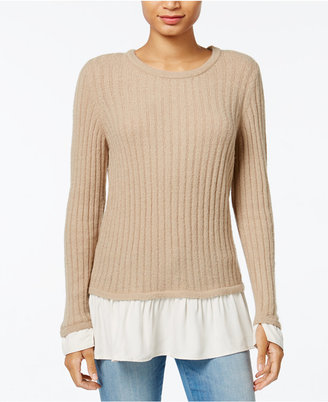 kensie Warm Touch Ruffled Contrast Sweater $79 thestylecure.com