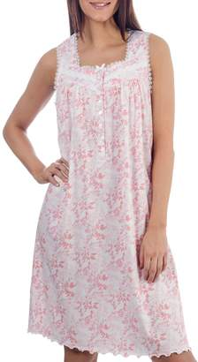 Jasmine Rose Satin Bow Lace-Trimmed Cotton Nightgown