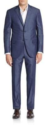 Corneliani Regular-Fit Tonal Pinstriped Cotton & Silk Suit