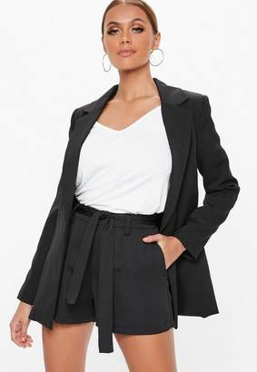 Missguided Tall Black Tie Waist Detail Crepe Tailored Shorts
