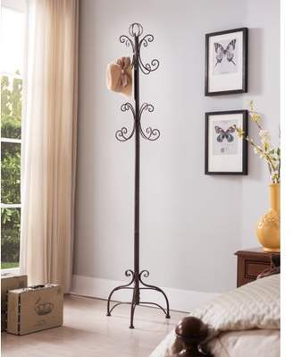 Pilaster Designs Cecily Brushed Copper Metal Transitional 8 Hook Hat & Coat Rack Hall Tree Display Stand