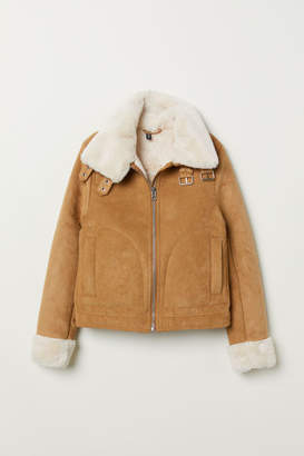 H&M Jacket with Faux Fur Lining - Beige