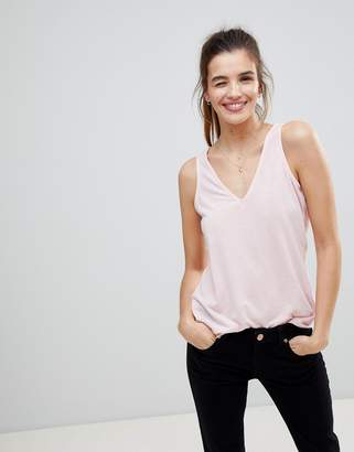 Asos Design Vest With V-Neck In Linen Mix