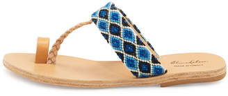 Neiman Marcus Elina Lebessi Dimitra Woven T-Strap Sandals, Blue/White
