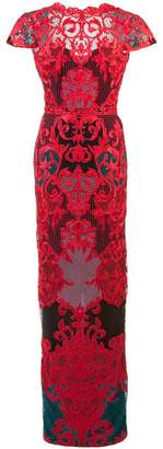 Marchesa embroidered fitted long dress