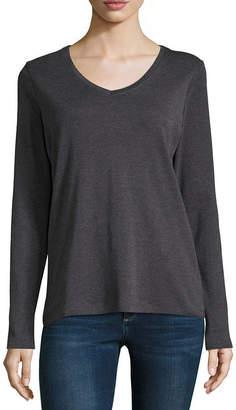 ST. JOHN'S BAY Long Sleeve V Neck T-Shirt - Tall