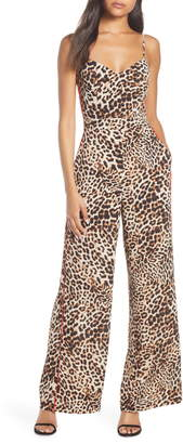 Vince Camuto Leopard Print Wide Leg Jumpsuit