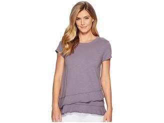 Mod-o-doc Slub Jersey Asymmetrical Flounce Hem T-Shirt Women's T Shirt