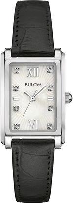 Bulova Diamond Womens Diamond-Accent Black Leather Strap Watch 96P156 $250 thestylecure.com