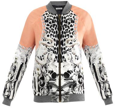 Emma Cook Serpent and stripe-print bomber jacket