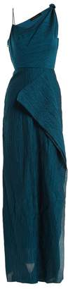 Roland Mouret Chorley draped one-shoulder cotton-blend gown