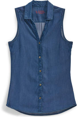 Ems Women's Solid Chambray Sleeveless Shirt