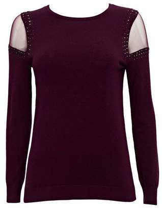 Wallis Petite Berry Mesh Shoulder Jumper