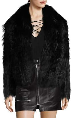 Karl Lagerfeld Paris Women's Feather Fox Fur Coat