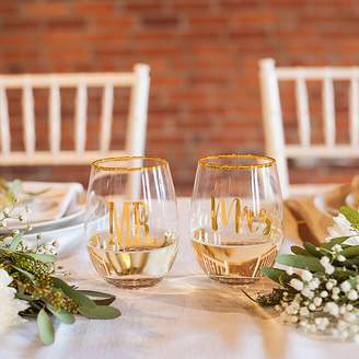 Cathy's Concepts Cathys Concepts 2-pc. Mr. & Mrs. Gold Rim Stemless Wine Glass Set