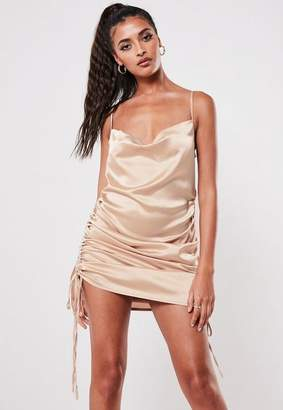 Missguided Champagne Satin Cowl Ruched Mini Dress