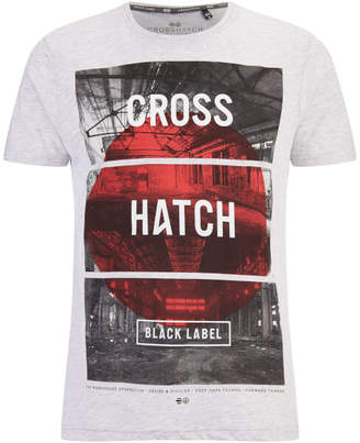 Crosshatch Men's Hotspot Graphic T-Shirt - Light Grey Marl