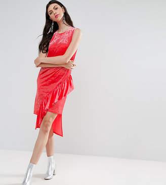 Asos Tall TALL Asymmetric Ruffle Velvet Midi Dress