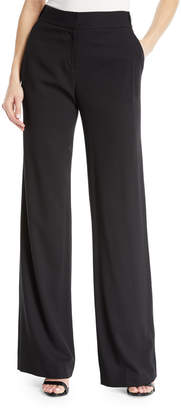 Halston Wool-Blend Wide-Leg Pants