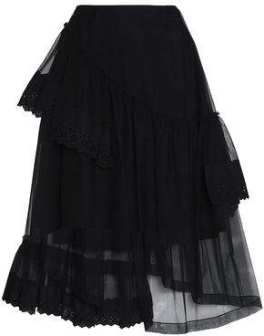 Simone Rocha Asymmetric Layered Lace-Trimmed Tulle Skirt