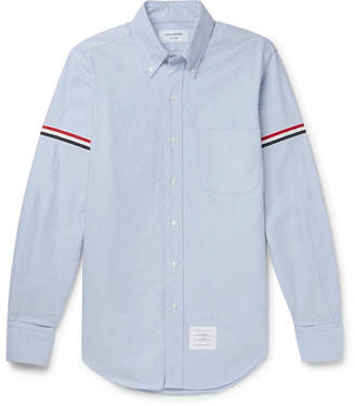 Thom Browne Slim-fit Button-down Collar Grosgrain-trimmed Cotton Oxford Shirt - Light blue