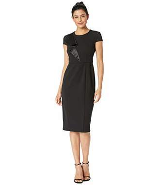 Donna Morgan Women's Cap Sleeve Crepe Dress with Asymmetrical Bodice