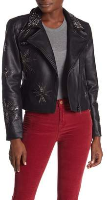 Blank NYC BLANKNYC Denim Embellished Moto Jacket