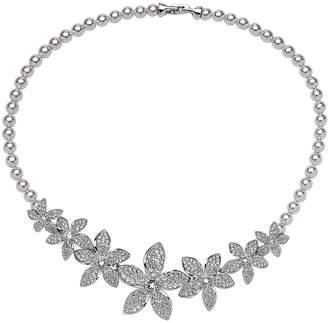Nina Swarovski Crystal & Faux Pearl Frontal Necklace