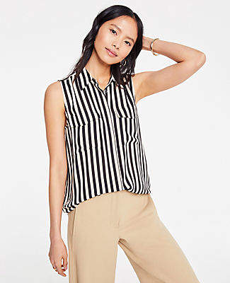 Ann Taylor Striped Sleeveless Camp Shirt