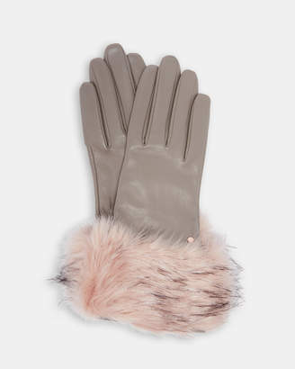 Ted Baker JULLIAN Leather faux fur trim gloves